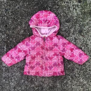 Pink Puffer Coat with Heart Pattern Size 12 Months